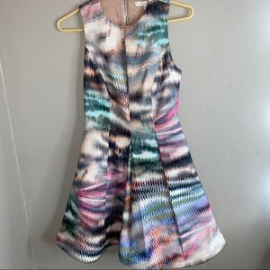ALEXIS colorful sleeveless structured midi dress